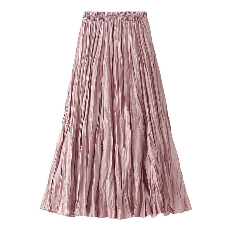 elegant high waisted solid color midi skirt for women Folds High Waist Women Skirt Elegant Double Layer Fall Winter Solid Color Pleated Casual 90S Aesthetic Midi Skirts Streetwear