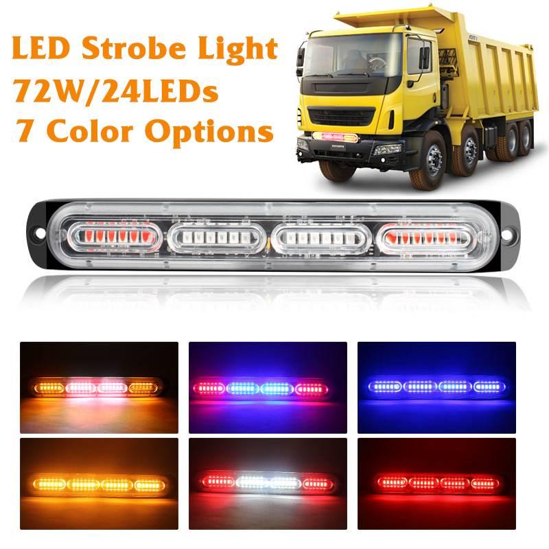 Luz estroboscópica de 72W 24 LEDs, Luces de policía, Flash de advertencia, barra de luz de emergencia de aluminio resistente al agua para coches, camiones, motocicletas