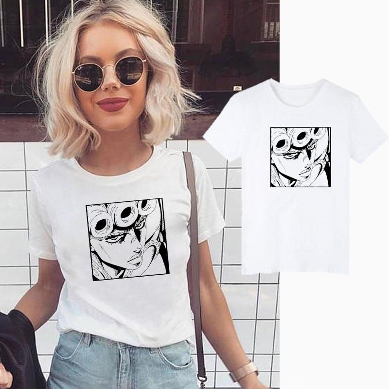 JoJo Bizarre Adventure, camisetas divertidas de Anime harajuku para mujer, camiseta estampada, camiseta Casual Jojo, camiseta de Hip Hop, camisetas, ropa femenina