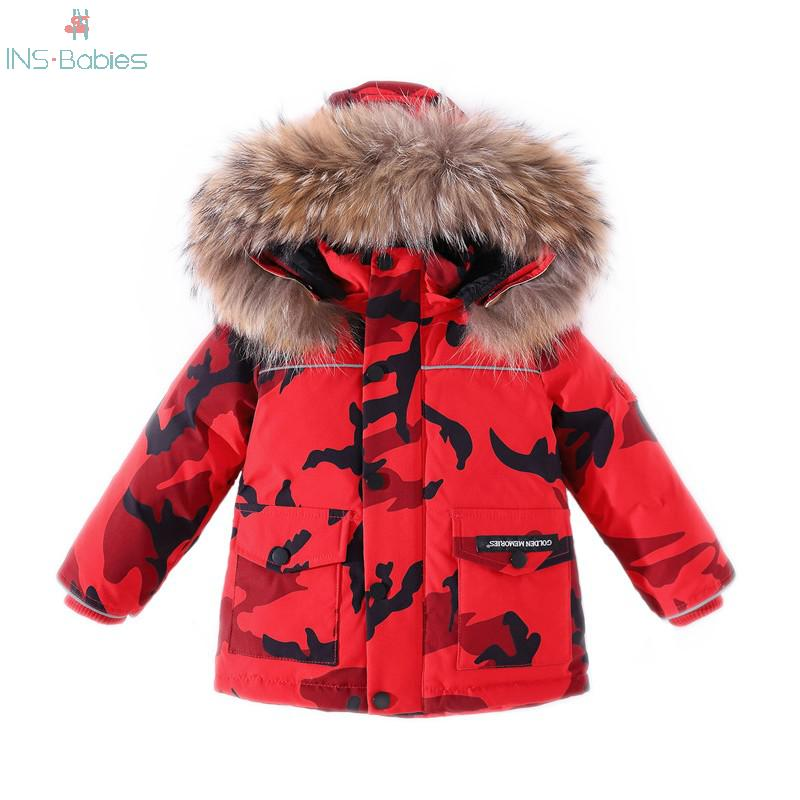 Chaqueta de invierno para niños, ropa para bebés, ropa de camuflaje para niños, abrigo impermeable grueso, traje de nieve cálido, ropa de abrigo acolchada de pato