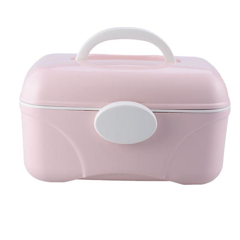 Caja de almacenaje para maquillaje de doble cubierta, caja de almacenamiento portátil pequeña para píldoras, manicura, mascarilla cosmética, soporte de almacenamiento para el hogar o para viajes al aire libre