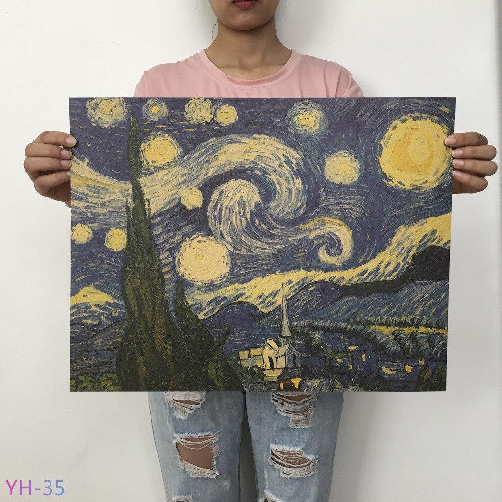 Новый плакат маслом Ван Гога Мона, Винтажный Классический крафт-бумага, плакат, живопись, наклейки на стену, домашний декоративный YH-31-42