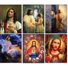 5D DIY diamentowa malowanie religia pełny okrągły diamentowy obrazek z kryształów górskich ikona mozaiki diamentowej jezus chrystus prezent do dekoracji domu