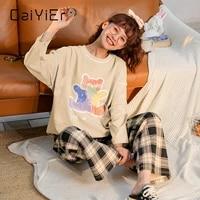 caiyier cartoon print women pajamas set long sleeve cotton sleepwear autumn winter girls nightwear soft loose loungwear pyjama