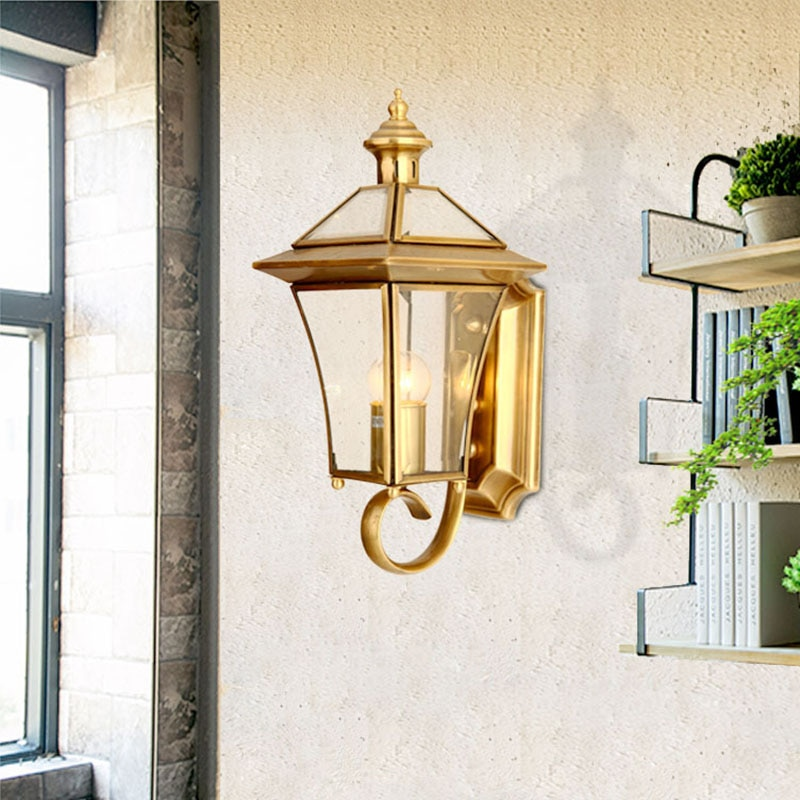 Kobuc Outdoor Wall Light Nordic Copper Waterproof Wall Light for Garden Balcony Porch Front Door Decoration Outside Lamp Wall enlarge