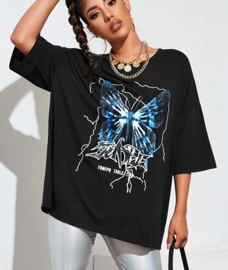 Top Dress Butterfly Print Loose Sleeve T-Shirt Women's Clothing o Neck Long Tops Party Club Beach Vintage Vestidos Streetwear