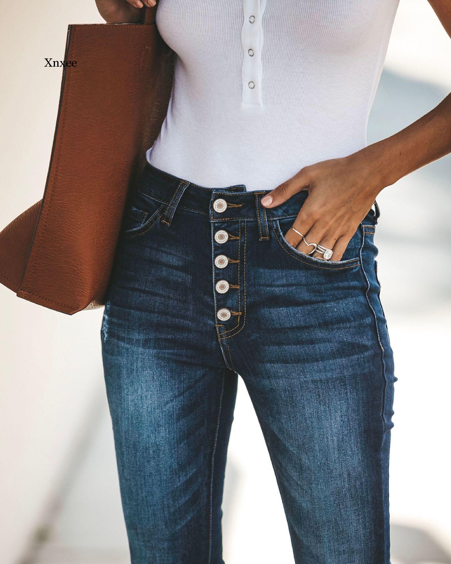 Женские джинсы с завышенной талией, коллекция 2020 года, эластичные женские джинсы с эффектом пуш-ап, узкие джинсы, женские классические джинс...