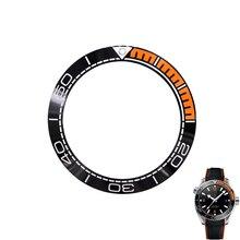 Часы Rolamy, Безель из чистой керамики, черный и оранжевый цвета, с серебряной надписью, 41,5 мм, снаружи, для SEAMASTER, планета, океан, коллекция 600 м