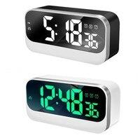 Music Alarm Clock Automatic Brightness Adjustment LED Digital Clock Weekday Alarms Power Off Time Memory Table Clock Home Decor
