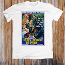 Folies Bergere De paryż Retro plakat filmowy Unisex T-Shirt na zamówienie koszulki z nadrukami Tee koszula