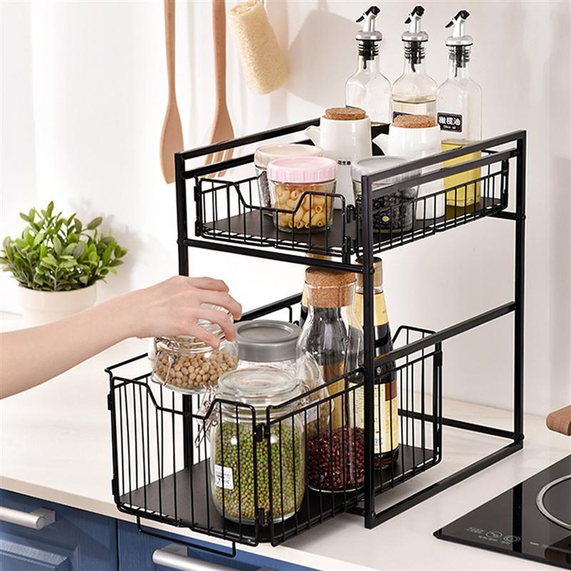 طبقة مزدوجة المطبخ التوابل المنظم رف متعددة الوظائف التوابل تخزين الرف كونترتوب تخزين حامل (أسود)