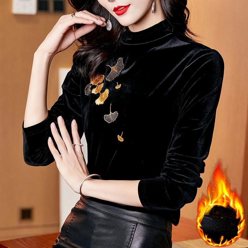 Women Half Turtleneck Plus Size Autumn Velvet Top Female Black Print Slim Fit Pullovers Long Sleeve Shirts Ladies Clothes X32