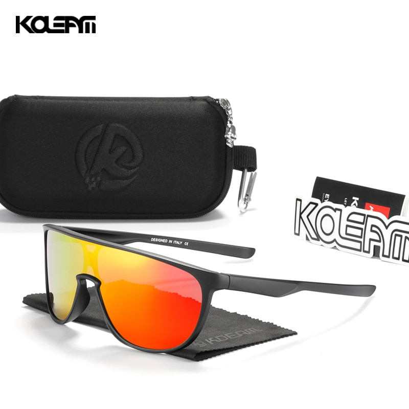 KDEAM TR90 Material Frame Men's Sunglasses Sports One Piece Shades Mirror Coating Sun Glasses For Co