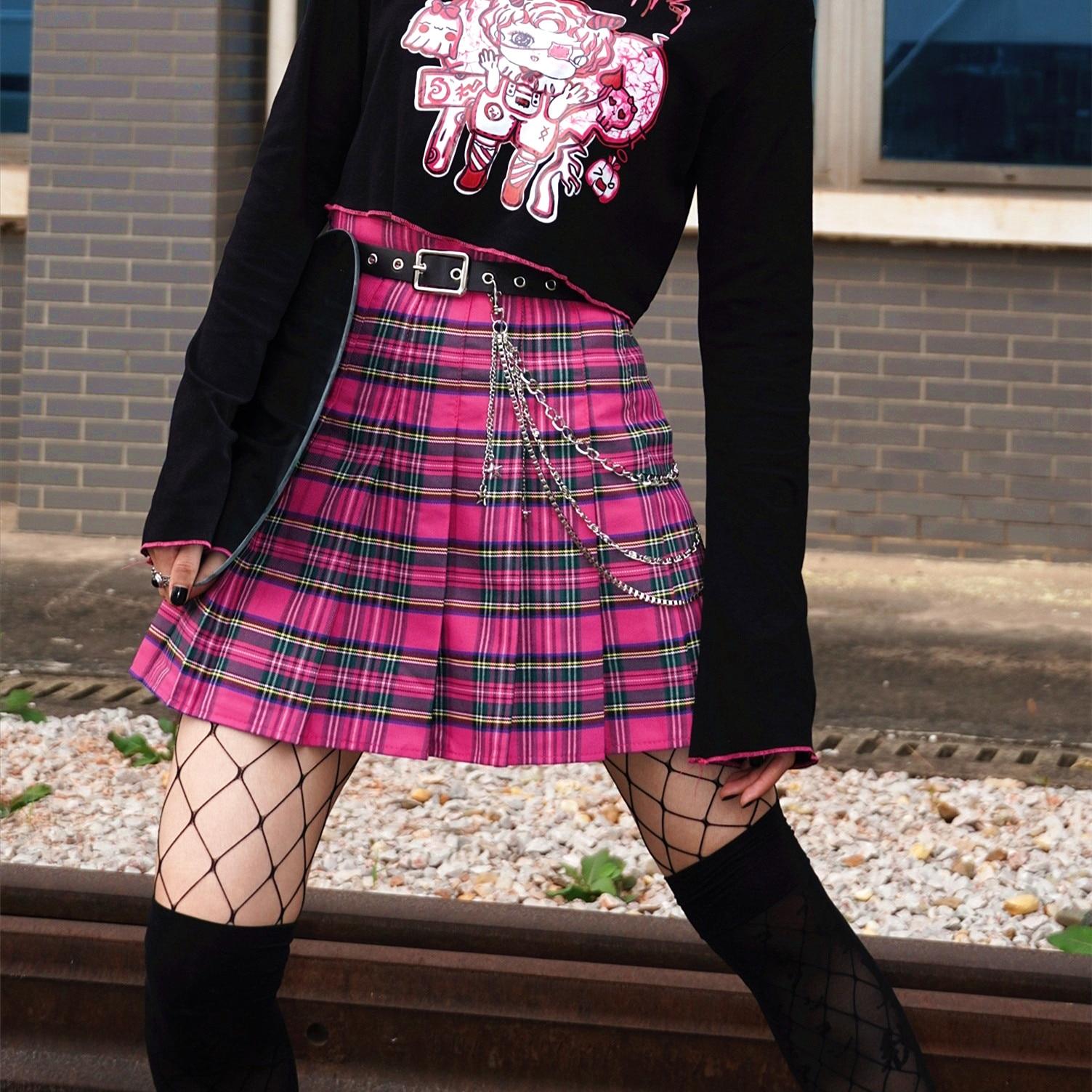 تنورة كاروهات بطيات للبنات ، ملابس Harajuku ، أسود ، لطيف ، JK ، ناعم ، فتاة y2k ، خصر عالي ، كاواي ياباني ، وردي