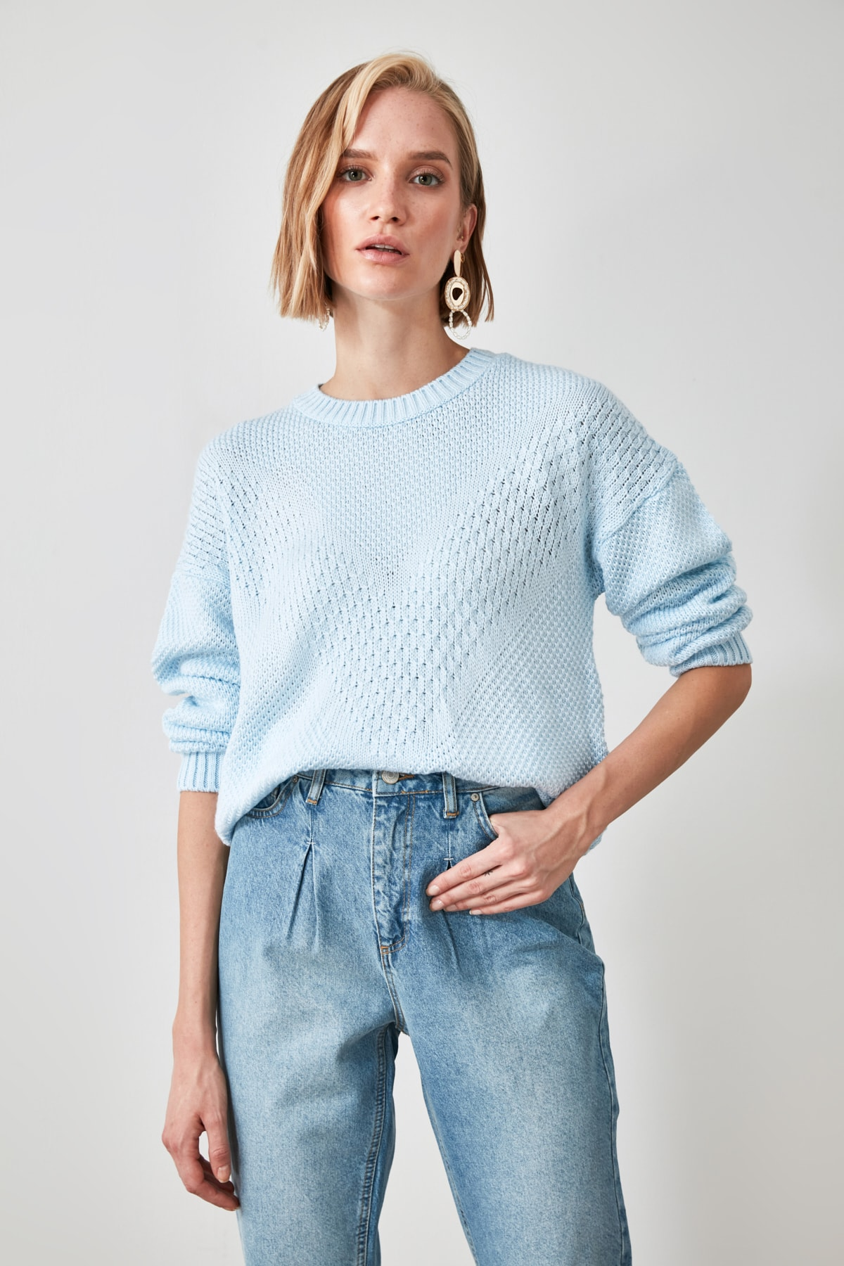 Trendyol Mesh Detailed Knitwear Sweater TWOAW21KZ1809