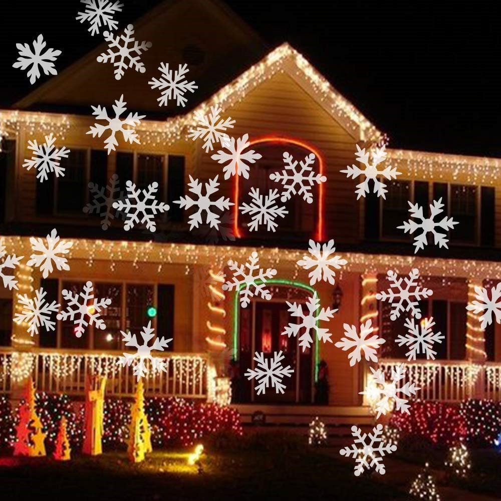 outdoor waterproof led stage light garden tree moving laser projector christmas party home decoration effect lamp Christmas Snowflake Laser Light Snowfall Projector Moving Outdoor Garden Laser Projector Lamp For New Year Party Stage Light