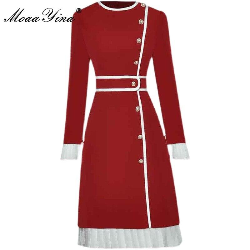 MoaaYina مصمم الازياء الخريف فستان أحمر المرأة الجولة الرقبة طويلة الأكمام زر كشكش ضئيلة طول الركبة فستان