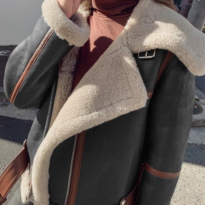 Luxury Winter Women New Warm Real Fur Lining Natural Shearling Jacket Thick Wool Short Moto Biker Overcoat Genuine Leather Coats