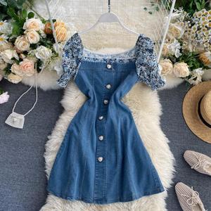 2020 Summer Korea Fashion Women Casual Square Collar Puff Sleeve  Empire Short Dress  Vestidos De Fiesta H511