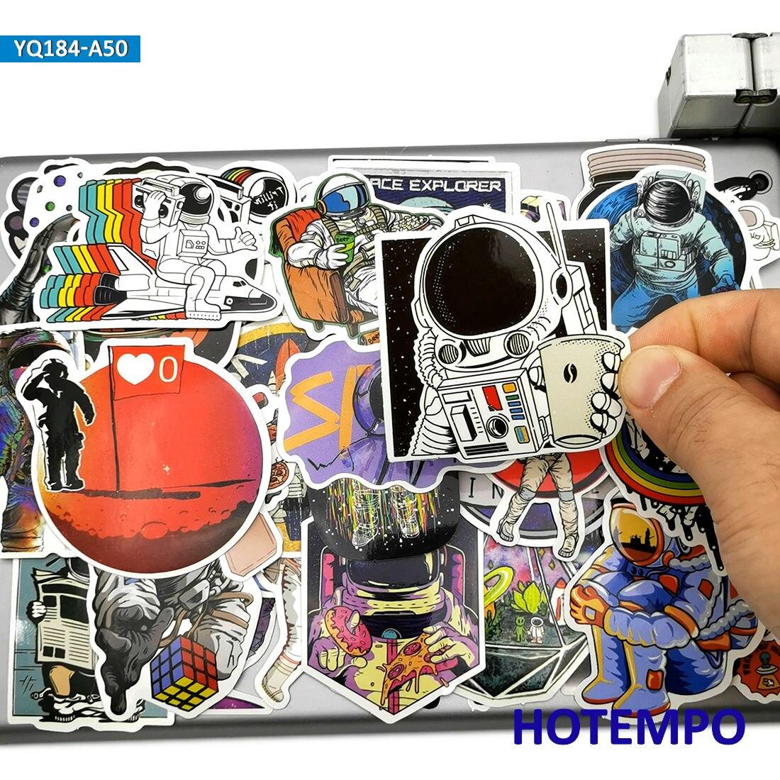 50 шт. Космическое пространство астронавт ракета корабль наклейка с планетой для телефона ноутбук гитара ноутбуки скейтборд велосипед мото...