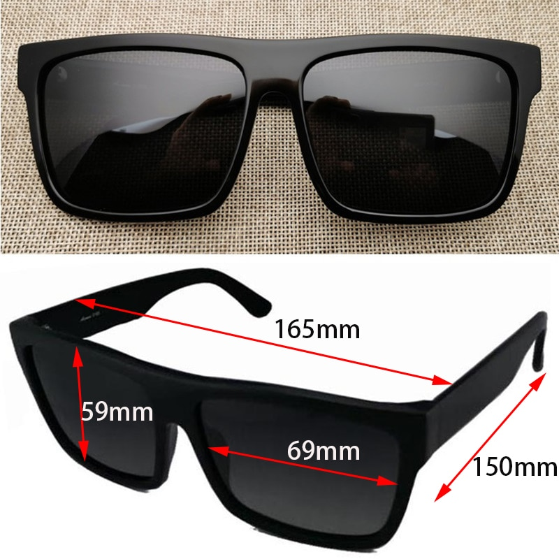 نظارات شمسية مستقطبة كبيرة الحجم للرجال والنساء ، نظارات شمسية للجنسين بنمط عتيق ، أسود ، 166 مللي متر