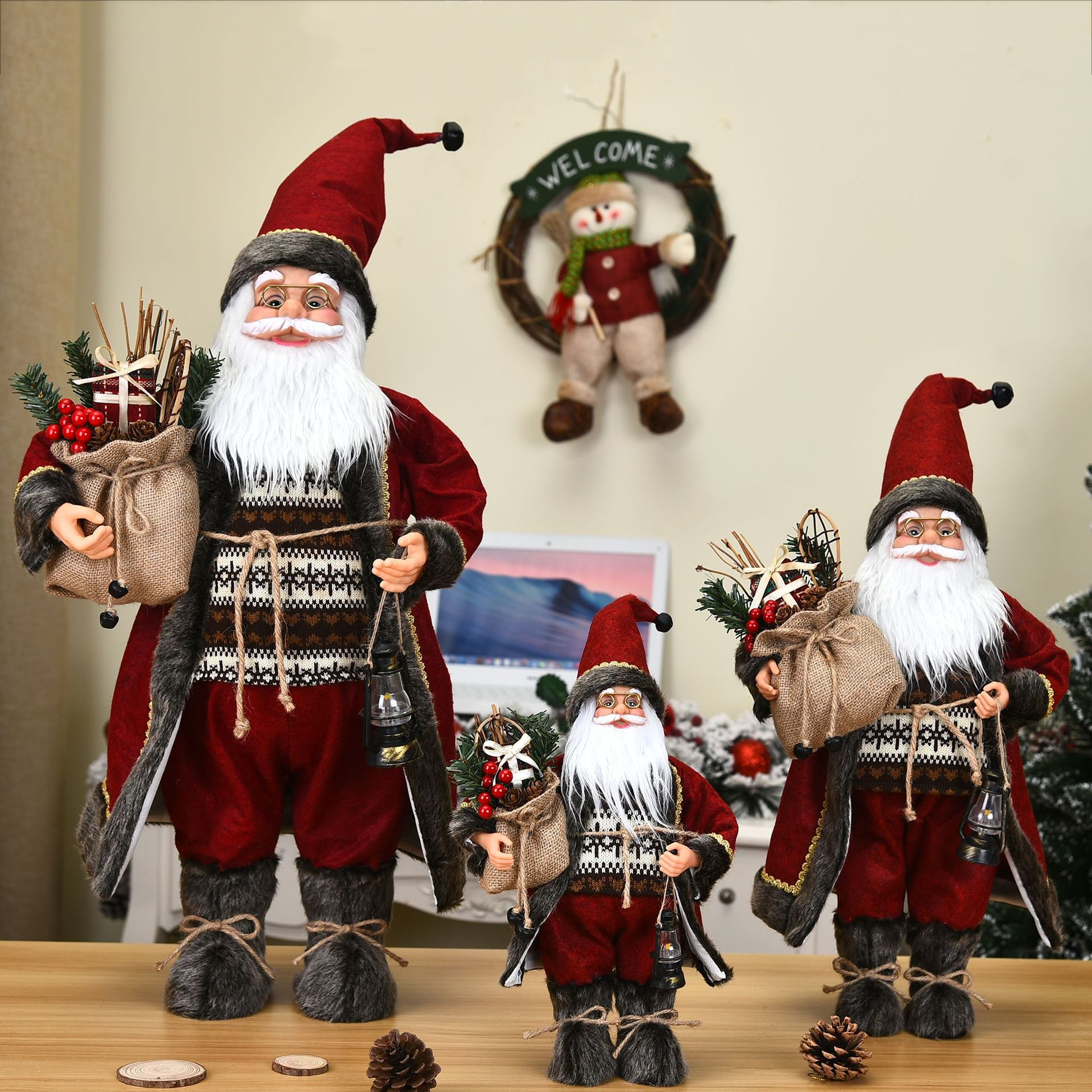 3PCS/set  Big Santa Claus Dolls Children Xmas Gift Christmas Tree Decorations for Home 2022 New Year Party
