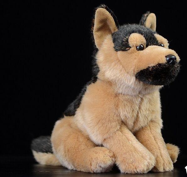 Juguete realista en cuclillas perro alemán de peluche de juguete alrededor de 28x20cm suave muñeca bebé juguete regalo de Navidad h1209