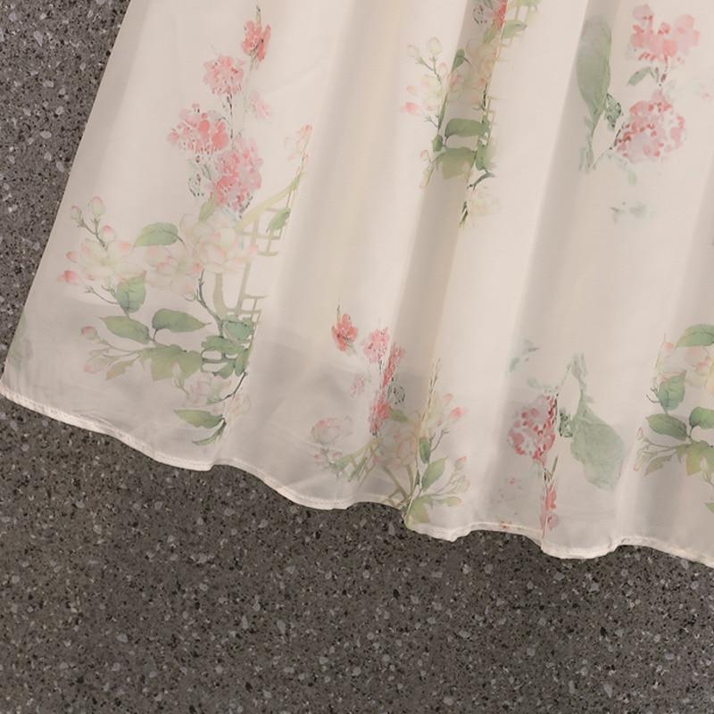 Fashion Flower Printed Chiffon Skirt Suits Women Loose Shirts Blouse + High Waist Skirts Sets Vintage Plus Size Two Piece Set