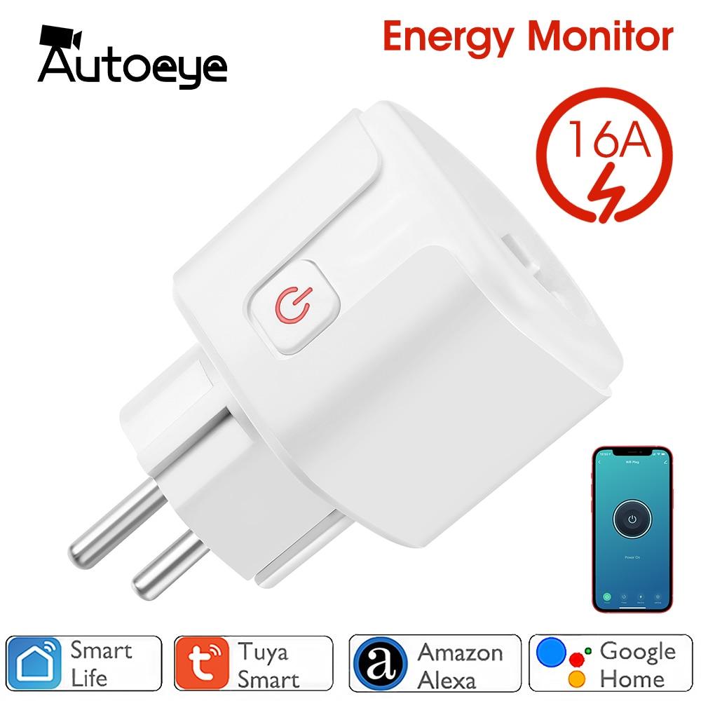 WiFi Smart Plug 16A EU Socket Tuya Smart Life APP Work with Alexa Google Home Assistant Voice Control Power Monitor Timing