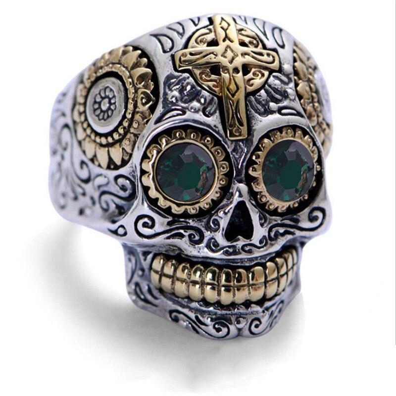 Модное кольцо из нержавеющей стали золотистого цвета с крестом и черепом, кольцо из титановой стали в стиле панк, Крутое мужское кольцо на п...