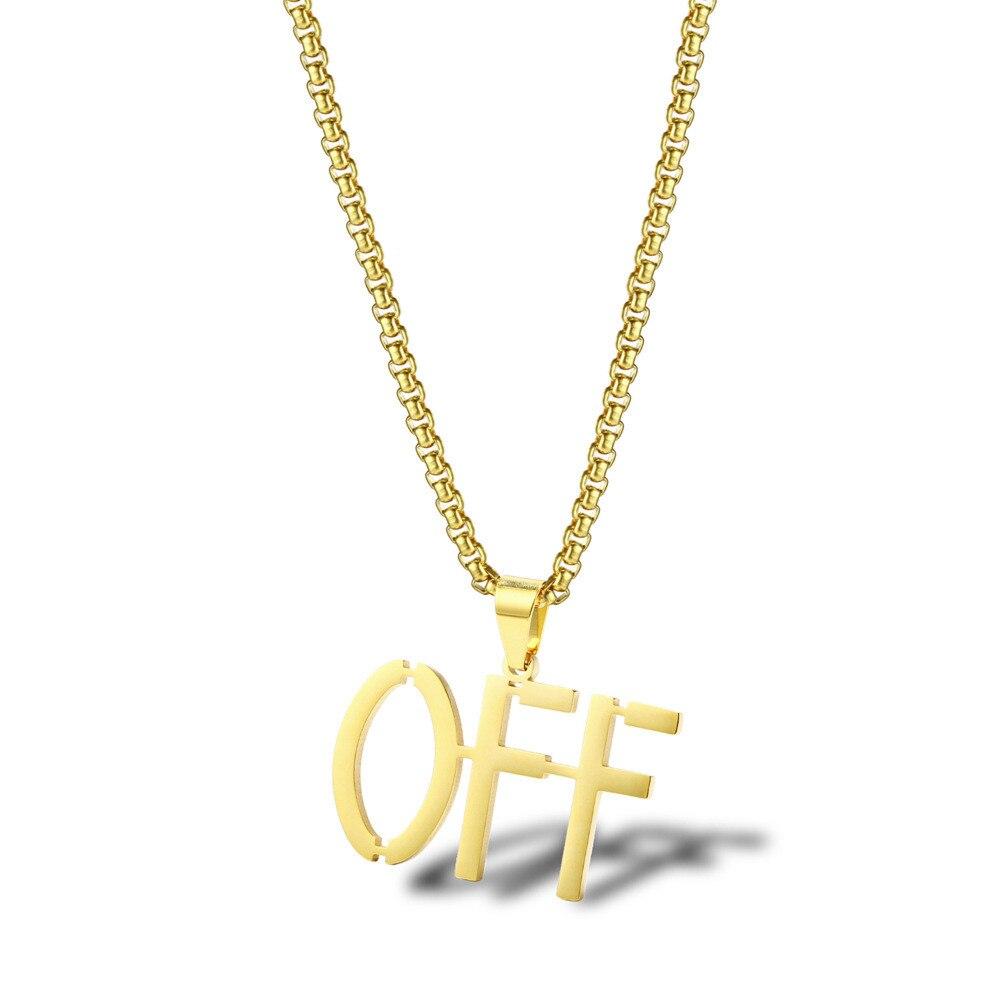 Herren Off Weiß Anhänger Halskette Zubehör Hip Hop Edelstahl Schmuck Farbecht Gold Brief Halskette Frau Schmuck