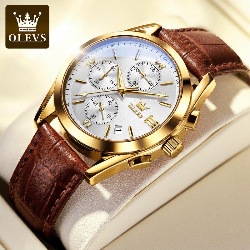 Olevs جلد متعدد الوظائف كرونوغراف ساعة رجالي مقاوم للماء ساعة كوارتز فاخرة 18K الذهب ساعة رياضية الرجولة الدينية