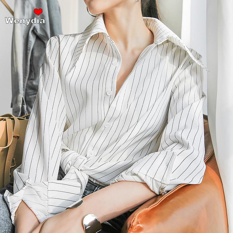 Wenydia بلوزة مخططة بيضاء سوداء أنيقة كبيرة بياقة مدببة طويلة الأكمام الأساسية قميص مزاجه البلوزات شيك المرأة الأعلى 2021