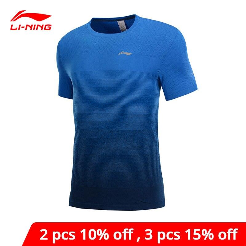 Li-Ning Men Running Series T-Shirt Seamless Nylon Polyester Breathable LiNing li ning Fitness Sports Tee Tops ATSP027 MTS3034