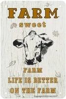 ANJOOY     panneaux retro en fer blanc  pour la ferme  la vie est meilleure a la ferme  pour lexterieur  les cafes et les maisons