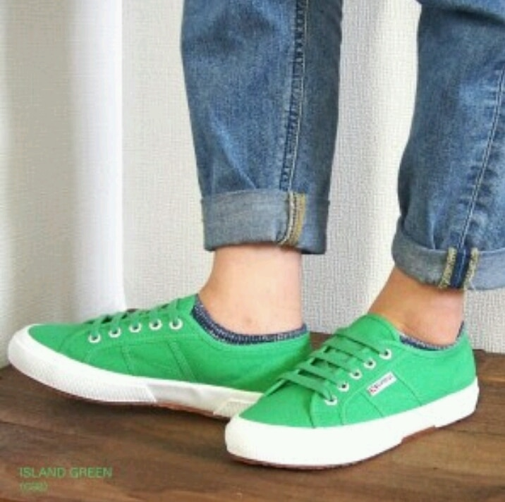 ORIGINAL SUPERGA 2750 cordones de fondo plano antideslizante hombres y mujeres par de modelos low-top zapatos de lona zapatos de tablero verde