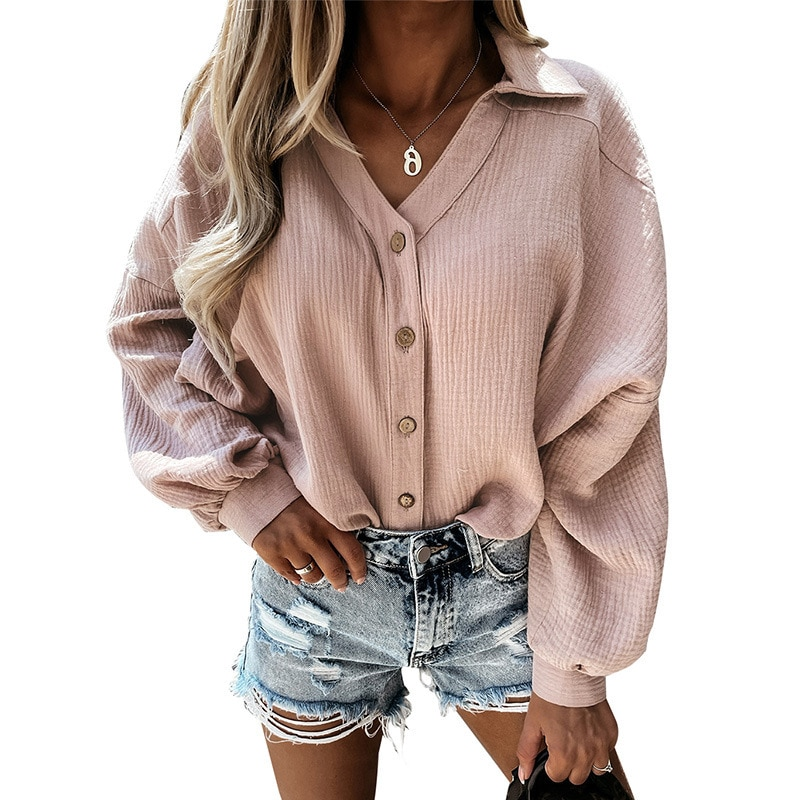 Lantern Sleeve Elegant Shirt Blouse Sexy Button Vintage Turn Down Collar Office Ladies Shirt Female Casual  womens tops