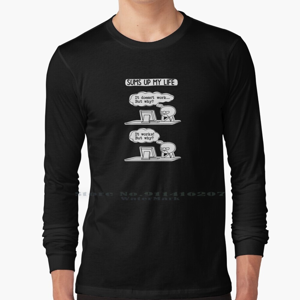 Funny Coder Meme It Works But Why T Shirt 100% Pure Cotton Meme Coder Programmer It Works It Works Why Code Engineer Software