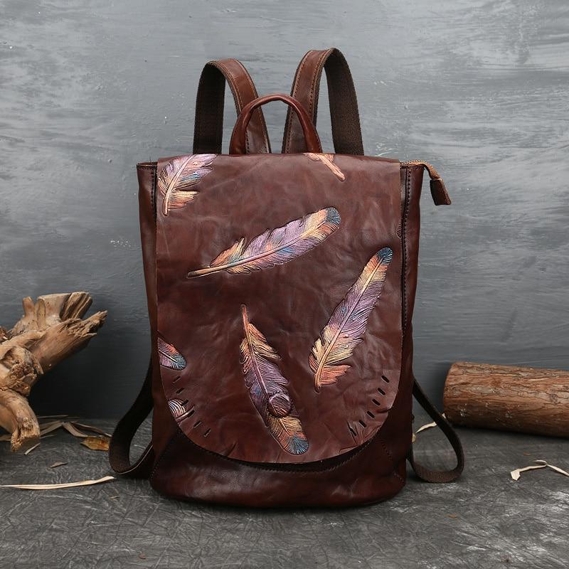 VOLASSS تنقش جلد البقر حقائب النساء جلد طبيعي فاخر حقائب مدرسية للمراهقات النساء Backpack ريشة ظهره جديد