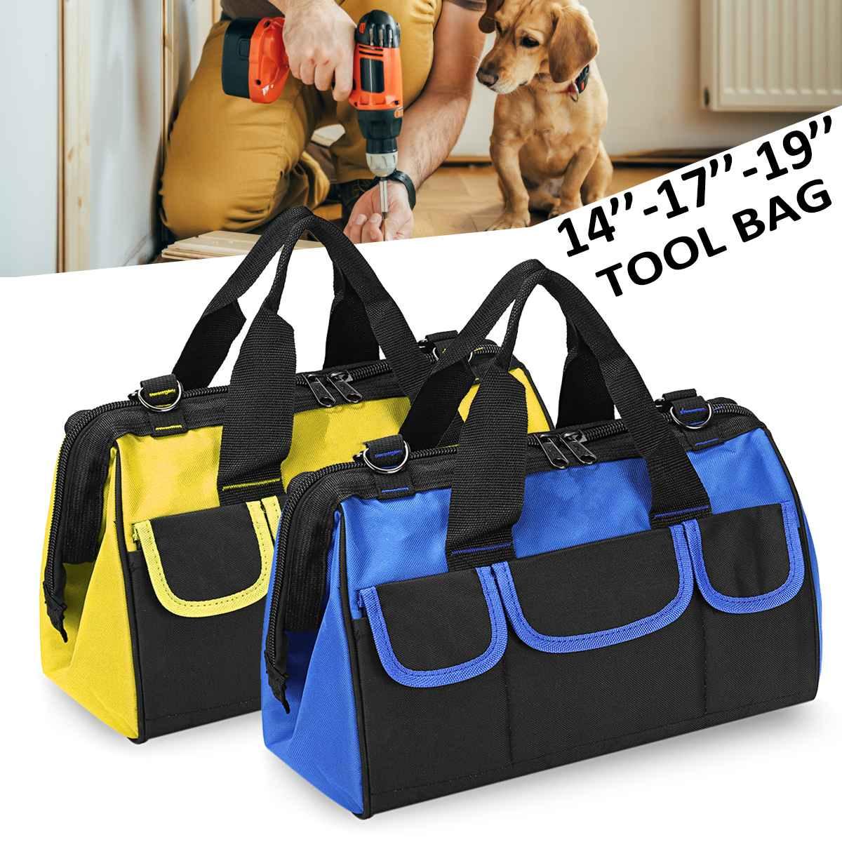 Bolsa de herramientas de almacenamiento para artículos diversos de 14-17-19 pulgadas, bolsa de hombro, funda, destornillador, llave, taladro, herramienta de reparación, bolsas organizadoras