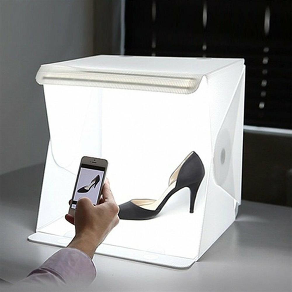 """Mini Luz de 12 """"30cm para estudio de foto de habitación, tienda de iluminación para fotografía con Kit LED + Cable, Mini caja cúbica de fondo para cámara de teléfono inteligente"""