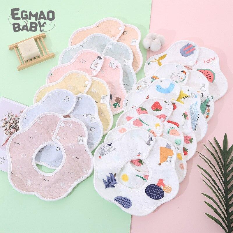 AliExpress - Baby Bibs 360 Degree Rotation 6 Layers Gauze Muslin Baby Kids Bandana Burp Cloth Soft Newborn Infant Saliva Towel Baby Stuff