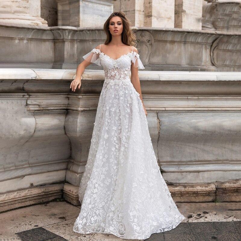 Promo New Sweetheart Wedding Dresses 2021 A-line Lace Appliques Sweep Train Bridal Gowns Short Sleeve Sexy Backless Vestidos de Noivas