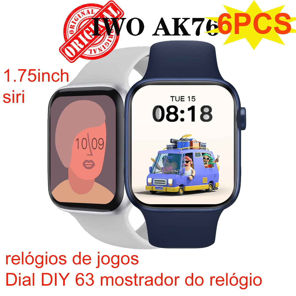 Promo 6PCS  IWO AK76 Smart Watch Women Men Games watch