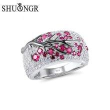 SHUANGR Neueste Shiny Baum Zweig Ring von Rot/blau/grün/Lila Kristall Blätter Ringe für Frauen Punk zweig Hochzeit Ring Schmuck
