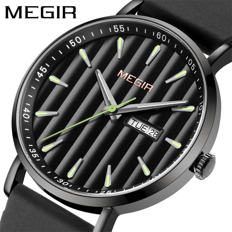 رجالي ساعات MEGIR العلامة التجارية الفاخرة مقاوم للماء رقيقة جدا تاريخ ساعة الذكور سيليكون حزام ساعة كورتز العارضة الرجال ساعة رياضية