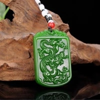 natural green hand carved dragon jade pendant fashion boutique jewelry mens and womens twelve zodiac necklace gift accessories
