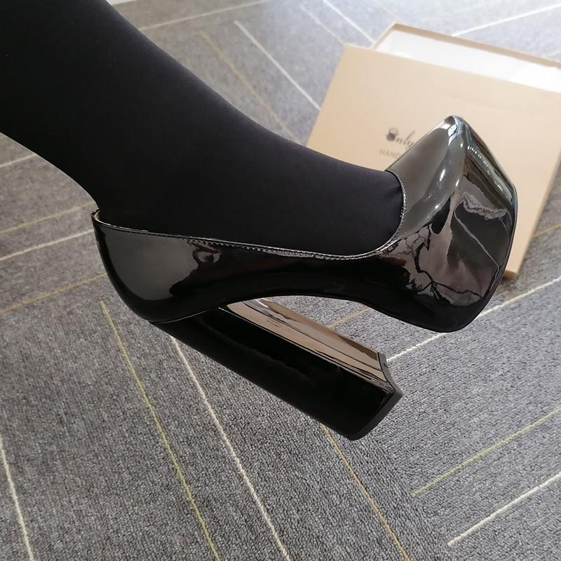 Onlymaker/женские туфли с круглым носком на платформе 15-16 см, на высоком массивном каблуке с ремешком на щиколотке, туфли-лодочки на толстом кабл...
