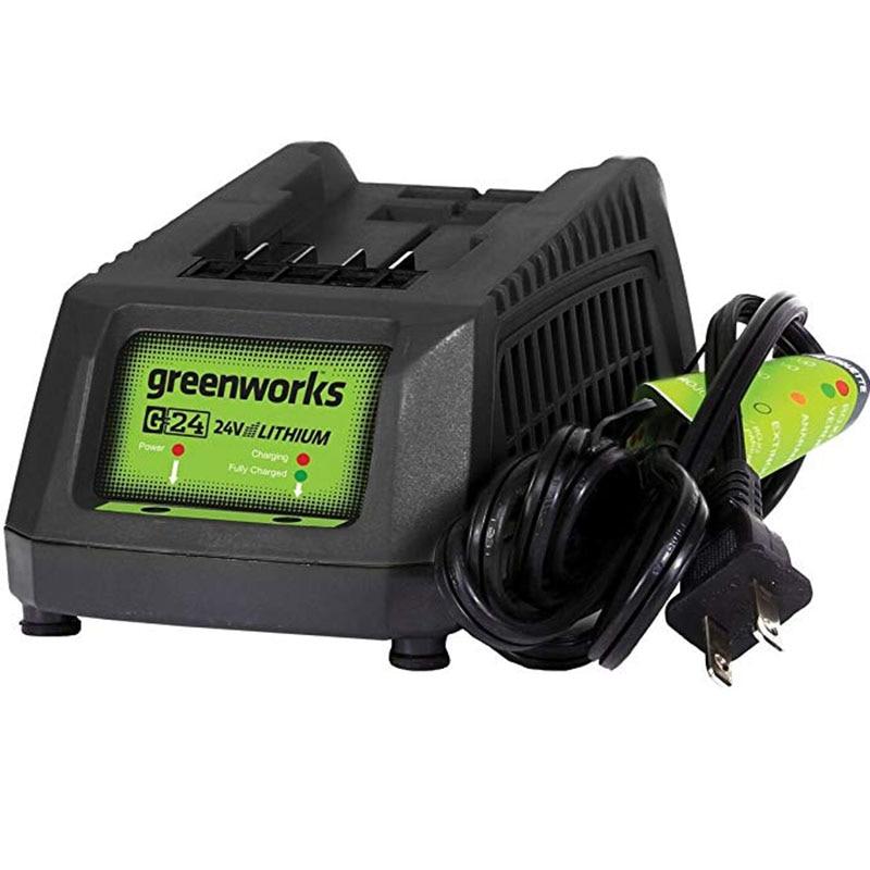Greenworks-شاحن بطارية 29862 G24 جزازة 24 فولت ، أقدام مطاطية مثبتة على الحائط ، تصميم للتثبيت والتوقف الكامل