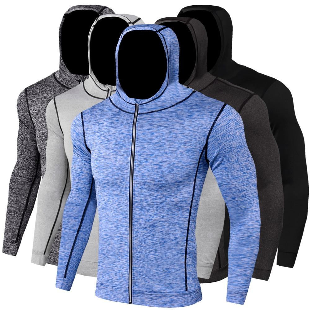 Men's Autumn Winter Sports Coat Fitness Running Training Cycling Outdoor Long Sleeve Zipper Casual Hoodie Quick Drying Coat